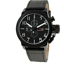 Republic Men's Leather Strap Black Bezel Watch