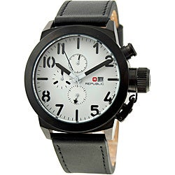 Republic Men's Leather Strap White/ Black Watch