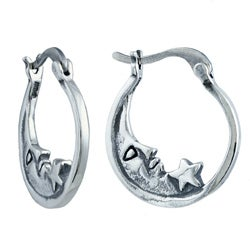 Silvermoon Sterling Silver Moon and Star Hoop Earrings