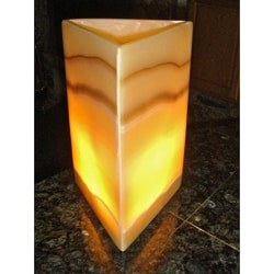Polished Alabaster Pyramid Lamp (Egypt)