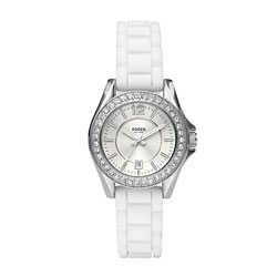 Fossil Women's Mini 'Riley' Silicone Strap White Dial Watch