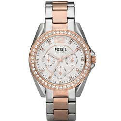 Fossil Women's 'Riley' Rose and Silvertone Stainless Steel Watch