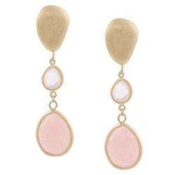 Rivka Friedman 18k Goldplated Rose Quartz Dangle Earrings