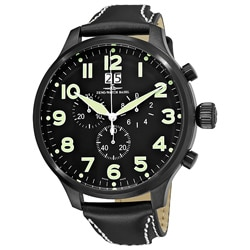 Zeno Men's 'Super Oversized' Black Strap Quartz Chronograph Watch