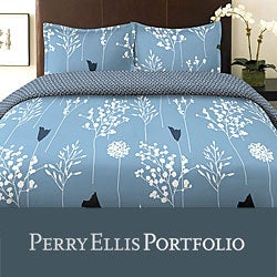 Perry Ellis Asian Lilly Blue Twin-size 2-piece Duvet Cover Set
