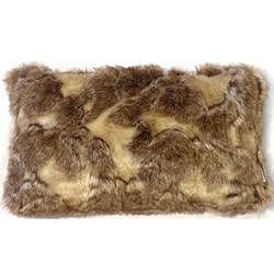 Rectangular Variegated Faux-Fur Throw Pillow