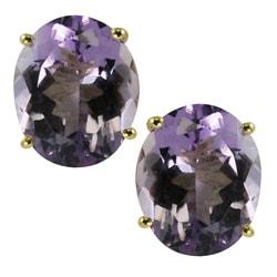 Gems For You 14k Gold Oval Amethyst Stud Earrings