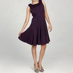 Jessica Howard Women's Petite Ruffled Neck Multi-seamed Pintuck Dress FINAL SALE