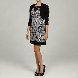 Jessica Howard Women's Petite 2-Piece Black/Ivory Dress