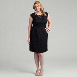 Jessica Howard Women's Plus Size Navy Cap-Sleeve Beaded Dress