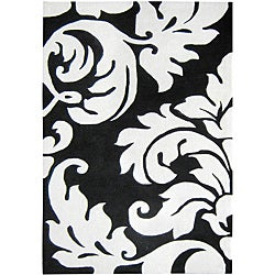 Alliyah Handmade New Zeeland Blend Damask Rug (4' x 6')