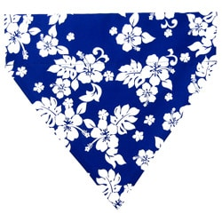 Ruff Stuff USA Aloha Blue and White Hibiscus Flowers Dog Collar Bandana