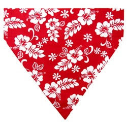 Ruff Stuff USA Aloha Red and White Hibiscus Flowers Dog Collar Bandana