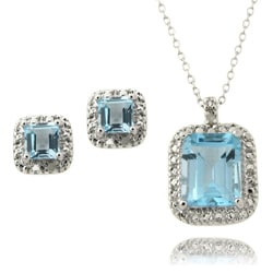 Dolce Giavonna Silver Blue Topaz and Diamond Accent Jewelry Set