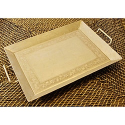 Wrought Iron Hand-painted Ivory Tray (India)