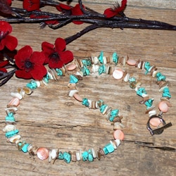 Susen Foster Silverplated Family Luau MOP and Turquoise Necklace