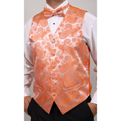 Ferrecci Men's Orange Four-piece Vest Set