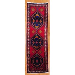 Persian Hand-knotted Red/ Ivory Hamadan Wool Rug (3'7 x 11'7)