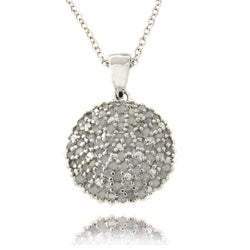 Sterling Silver 1ct TDW Diamond Dome Necklace