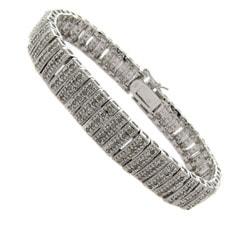 Finesque Sterling Silver 2ct TDW Diamond Stripe Bracelet