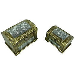 Classic Jewelry & Keepsake Box in Gold & Silver Flower (Set of 2)