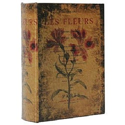 Photo & Keepsake Album with Flower Painting on Aged Leather