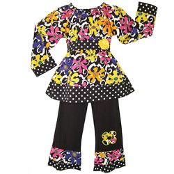 AnnLoren Girls Funky Floral 2-piece Outfit