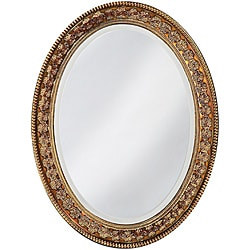 Burma Antique Copper Resin Floral Oval Mirror