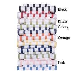 Gourmet Classics Striped Basket-weave Kitchen Towels (Case of 24)