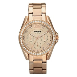 Fossil Women's 'Riley 'Multifunction Rose-goldtone Glitz Watch