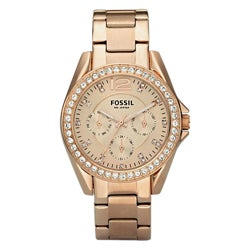 Fossil Women's 'Riley' Multifunction Rose Goldtone Glitz Watch