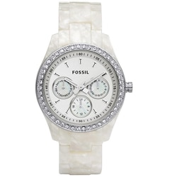 Fossil Women's 'Stella' Pearlized Multifunction White Dial Watch