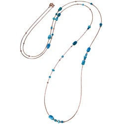 Silvermoon Copper Turquoise Station 55-inch Necklace