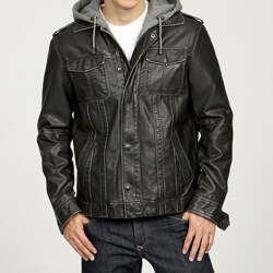 Izod Men's Faux Leather Fleece Hooded Zip-out Jacket