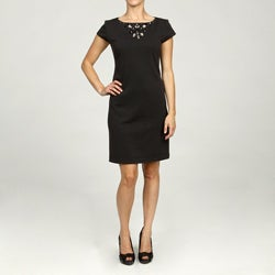 Jessica Howard Women's Petite Shortsleeve Necklace Dress