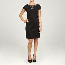 Jessica Howard Women's Petite Shortsleeve Necklace Dress