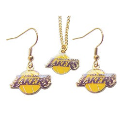 Los Angeles Lakers Necklace and Dangle Earring Charm Set