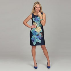 Eliza J Women's Navy Floral Print Bead Embellished Dress FINAL SALE