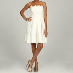 Eliza J Women's Ivory Strapless Lace Gown