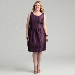 Eliza J Women's Plus Size Eggplant Pleated Dress