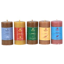 Set of 5 Pure Aromatic Beeswax Candles (India)