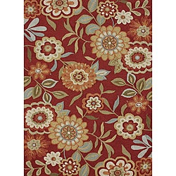 Hand-hooked Charlotte Red Rug (5&#39; x 7&#39;6)