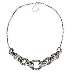 Sunstone Sterling Silver Oxidized Bali Filigree Link Necklace