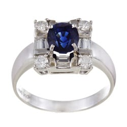 Kabella 18k White Gold Blue Sapphire and 1/2ct TDW Diamond Ring (G-H, I1-I2)