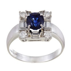 18k White Gold Blue Sapphire and 1/2ct TDW Diamond Ring (G-H, I1-I2)