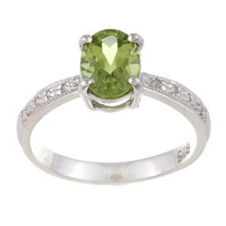 Kabella Sterling Silver Oval-cut Peridot and Diamond Accent Ring