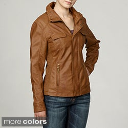 Collezione Women's Plus Size Faux Leather Stand Collar Ruched Jacket