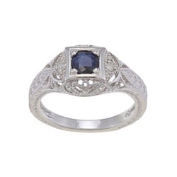 Viducci Sterling Silver Blue Sapphire and 1/6ct TDW Diamond Ring (G-H, I1-I2)