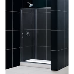 DreamLine Infinity 48x72 Glass Shower Door and 36x48 Center Drain Base