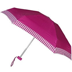 Leighton Purple Houndstooth Auto Compact Umbrella